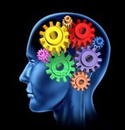 A picture of a head (left profile) with multi-coloured cogs to represent memory function. Ref: www.dreamstime.com
