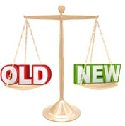 Scales with 'OLD' and 'NEW' as opposing weights. Ref: www.dreamstime.com