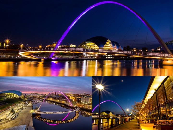 The Gateshead Millennium Bridge lit up in purple in honour of Purple Day, 26 March 2015. Ref: Vicky McGreevy, Newcastle University