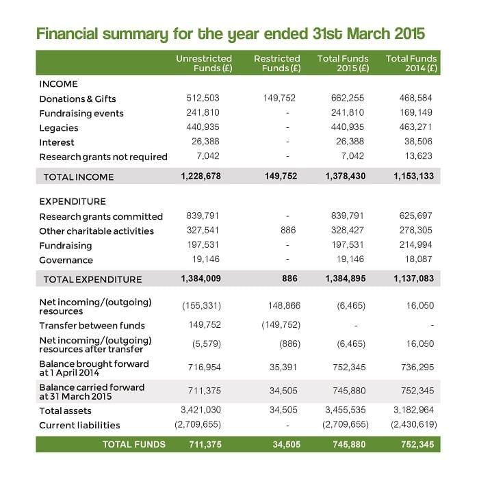 Financial summary for year ended 31 March 2015